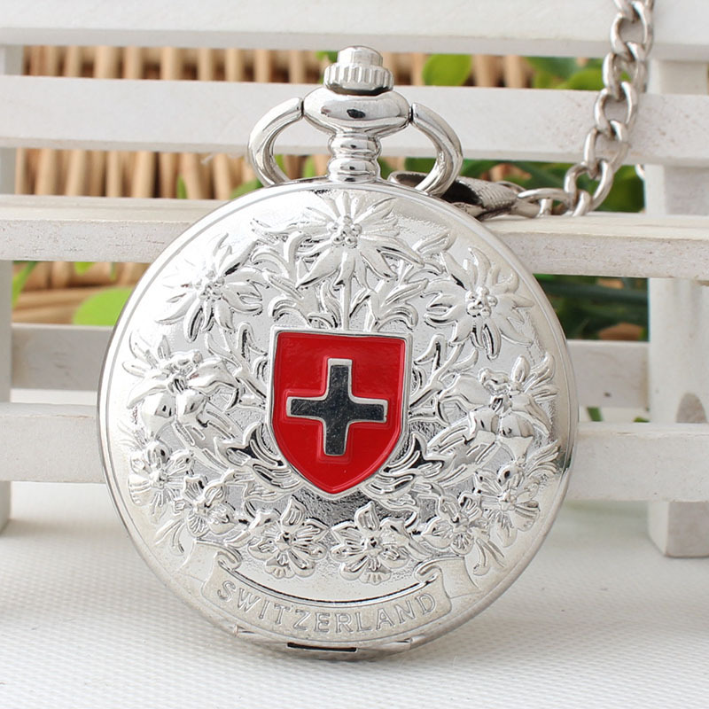 Silver Antique Mechanical Pocket Watch Retro Hand Wind Swiss Red Cross Classic Men's and Women's Birthday Gift TJX078 цена и фото