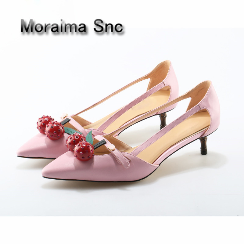 Moraima Snc Designer Bamboo high heels pumps Shoes Patent leather Cherry Pointed Toe Shoes Woman Pink Party Ladies Bride Shoes