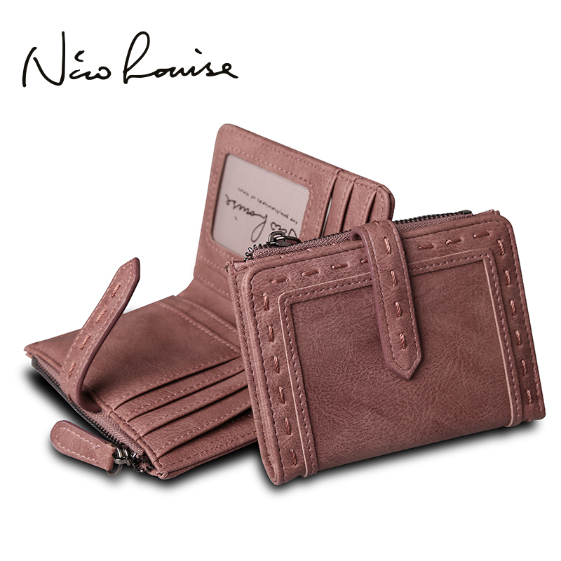 Nico Louise Women Vintage Leather Short Wallet Fashion Girls Zipper Change Clasp Purse Money Coin Card Holders wallets Carteras