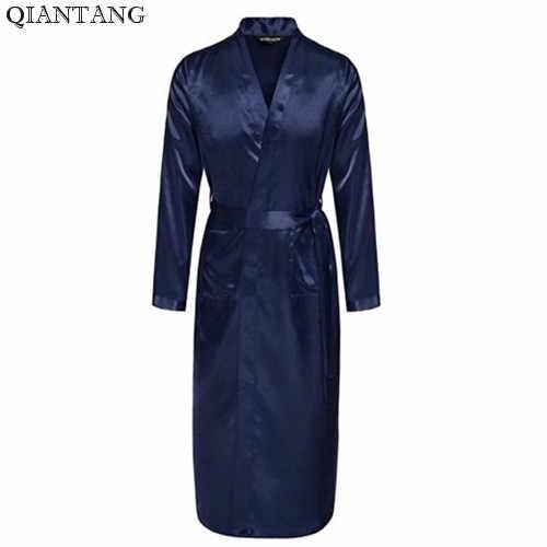 Темно-синее мужское платье горячая Распродажа кимоно из искусственного шелка банное Платье Пижама-халат одежда для сна Hombre Pijama Размер S M L XL XXL LS004F