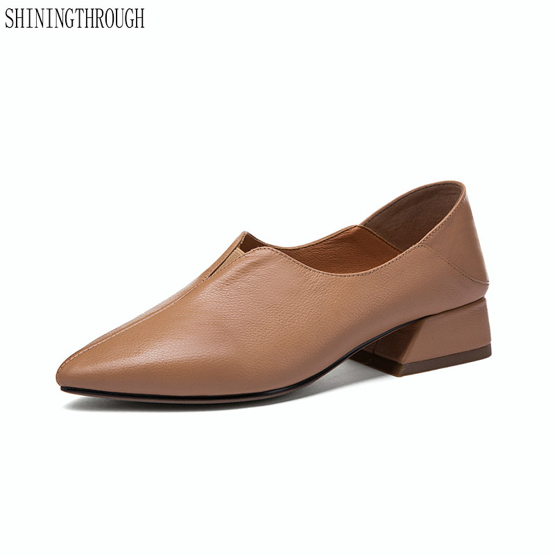 2019 New genuine leather girls pumps shoes low heel work women shoes Female shoes large size