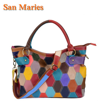 San Maries In Stock!Real 100% Genuine Leather Bags Women Hobo Patchwork Handbags Ladies Tote Bag Colorful Purses Dropshipping