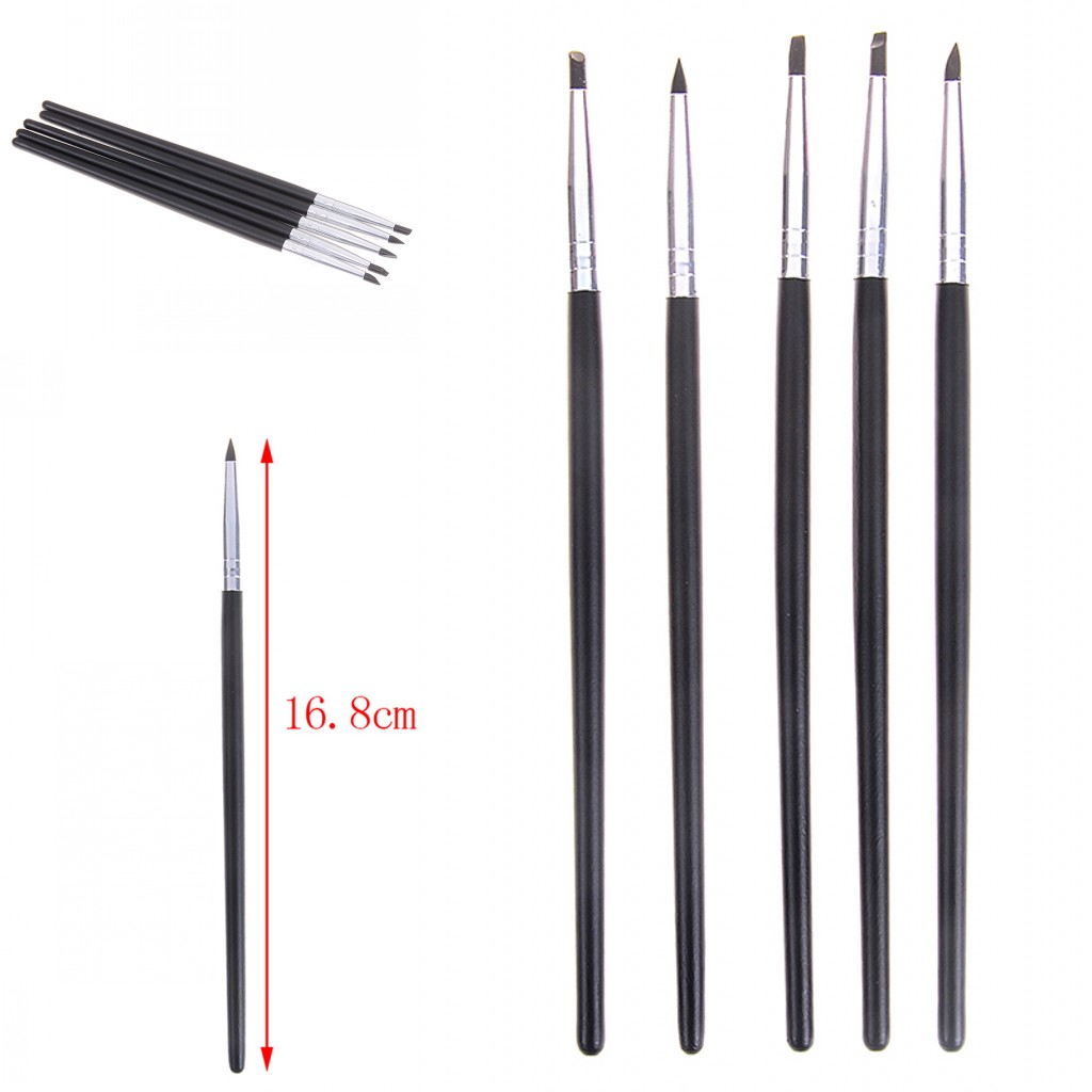 Hot Sale 5pcs Dental Resin Brush Pens Dental Shaping Silicone Tooth Tool For Adhesive Composite Cement Porcelain Teeth Tools