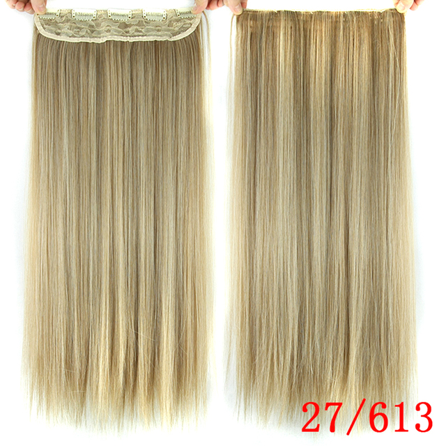 Soowee 60cm Long Straight Women Clip in Hair Extensions Black Brown High Tempreture Synthetic Hair Piece 5