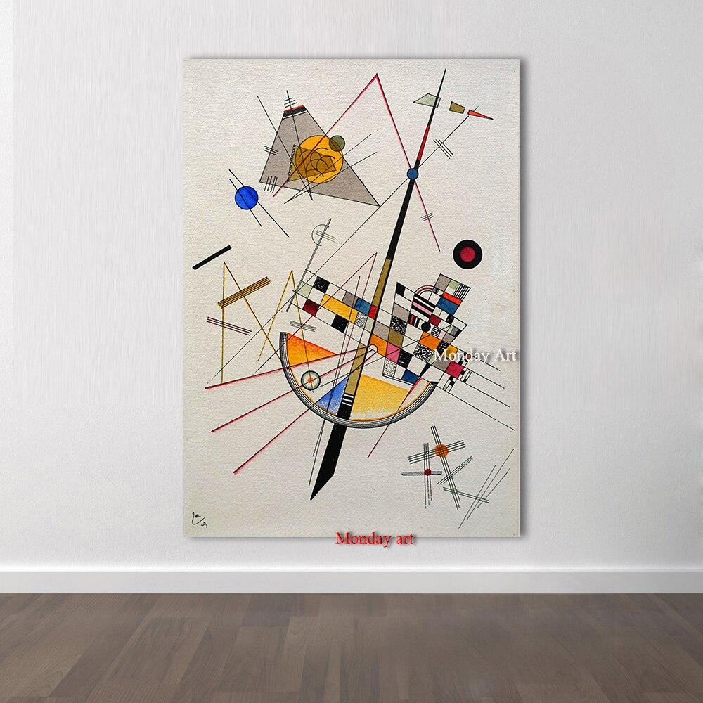 Peinture à l'huile Pure peinte à la main de grande taille Wassily Kandinsky peinture sur toile peinte à la main abstraite diagramme géométrique image