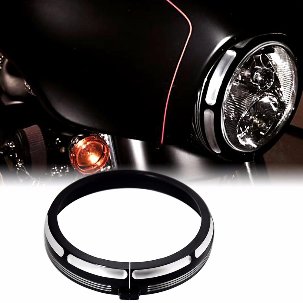 7 Burst Headlamp Trim Ring For Harley&Motorcycle Touring Street Glide Road King Trikes FLHX FLHR FLH/T 96-16 17 18 chrome starter cover for harley touring street glide road king road glide electra glide trikes flhx flhr 2017 2018