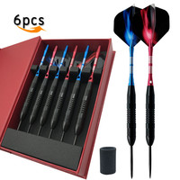 New 6pcs Professional Darts 23g Red Blue Color Steel Tip Darts With Aluminum Darts Shafts