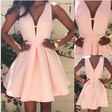 2017 Sexy Frauen Tiefer V Sommer-beiläufige A-line Sleeveless Partei Nette Mädchen Cocktail Short Mini Rosa Kleid