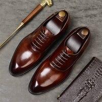Mens Formal Shoes Genuine Leather Oxford Shoes for Men Black 2019 Dress Shoes Wedding Shoes zapatos de hombre Italian Style