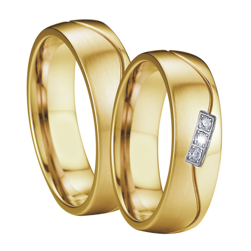 Handmade Wedding Band Couple Rings Pair gold color anillos anel aneis Anniversary Mens Engagement Rings for Women