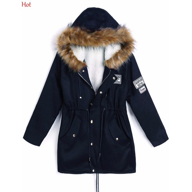 36e930d13d42d Hot Top Fashion Women Winter Coats Fur Collar Hooded Jacket Drawstring  Fleece Down Parka Korean Jacket Coat Navy Blue SV028345