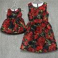 Семья посмотрите одежда марка Европейский черная роза плиссированные форма Рукавов юбки женщин midi сарафан мать и дочь платья