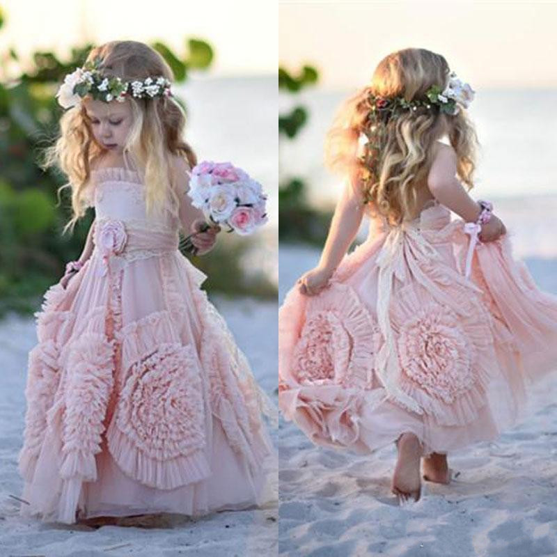 Pink Flower Girl Dresses Spaghetti Ruffles Hand made Flowers Lace Tutu Vintage Little Baby Gowns for Communion Boho Wedding