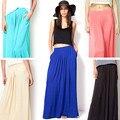 2016 Woman Satin Long Skirt Elastic Waist Floor-Length Maxi Skirts Female Plus Size Ladies Bohemia Pleated saia skirts For Women