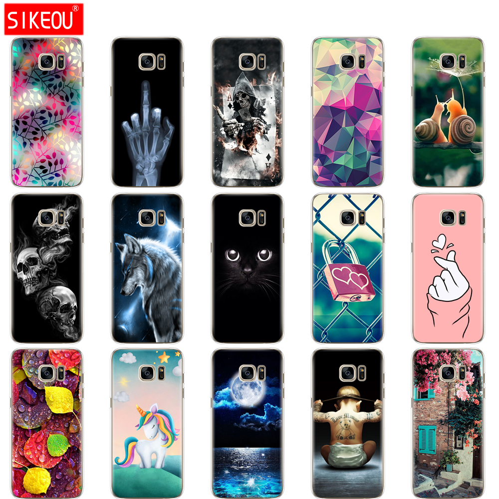 soft Silicone TPU case For Samsung Galaxy S7 edge Case Cover For Samsung S7 G930F G930FD G930W8 Phone shell Cat flower image