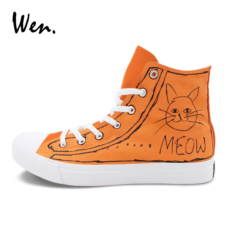 c7694d726875 Aliexpress.com   Buy Wen Hand Painted Shoes Sneakers MEOW Cartoon Cat  Design Custom High Top Women And Men Casual Canvas Outdoor Footwear Big  Size 49 from ...