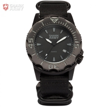 SHARK ARMY Full Steel 100m Waterproof Date Display Black Nylon Band Luminous Hands Reloj Mens Quartz Sports Wrist Watch /SAW193