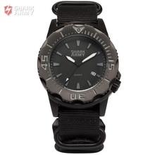 SHARK ARMY Full Steel 100m Waterproof Date Display Black Nylon Band Luminous Hands Reloj Mens Quartz Sports Wrist Watch /SAW193