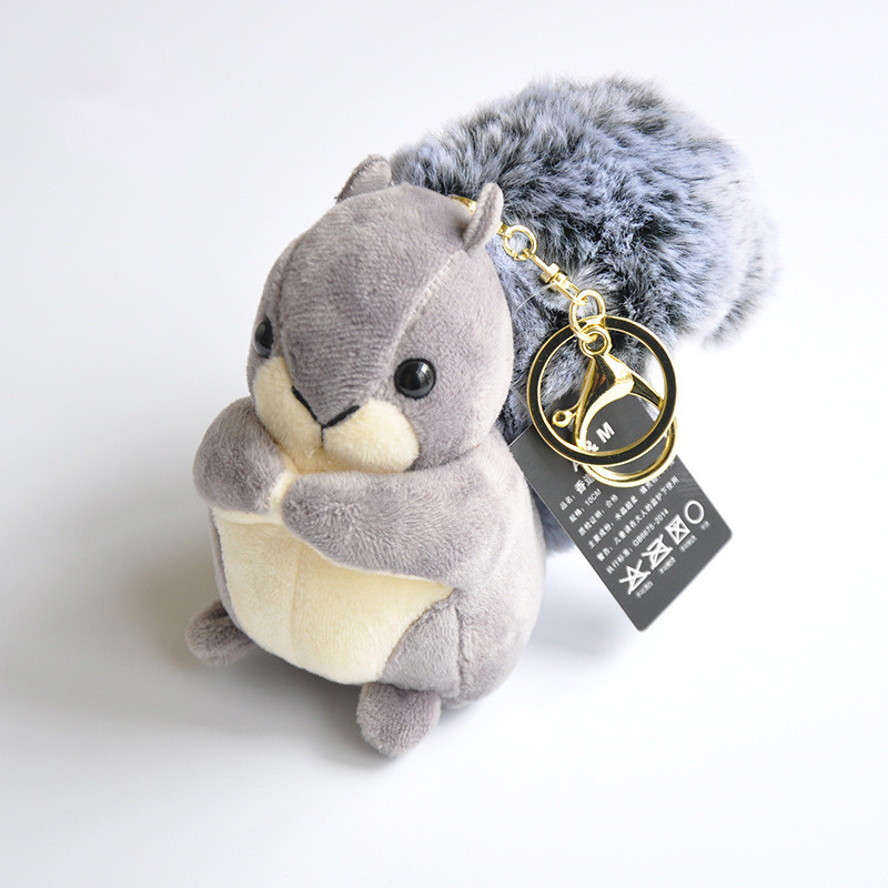 Super Cute 3 Colored- 10CM Squirrel Plush Toy Lovely Keychain Stuffed Toy Doll Girls Gifts Bag Deco Pendant High Quality