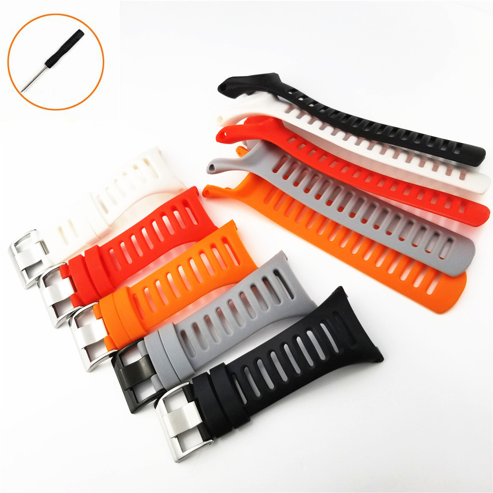 YQ Watchband for SUUNTO Ambit2/3 2R 2S 3s 3run Men Watch's Waterproof Sport Rubber Strap Watchband Steel Buckle With Screwdriver black watchband strap rubber holder locker for suunto core suunto ambit 1 2 3 2r 2s watch accessories ring loop