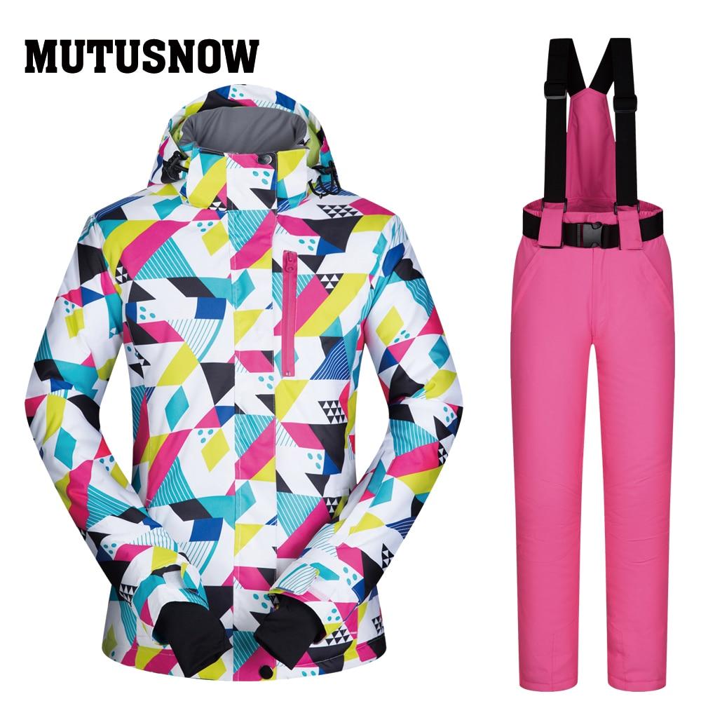 Ski Suit Women Brands 2018 New High Quality Snow Snowboard Jackets Pants Warm Waterproof Windproof Winter Set Jacket Momen Ski Sports & Entertainment