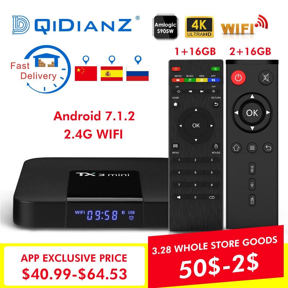 TX3 Mini TV Box S905W Quad Core 2,4 GHz WiFi Android 7.1 Unterstützung 4 K Netflix YouTube Media player TX3mini Set top box
