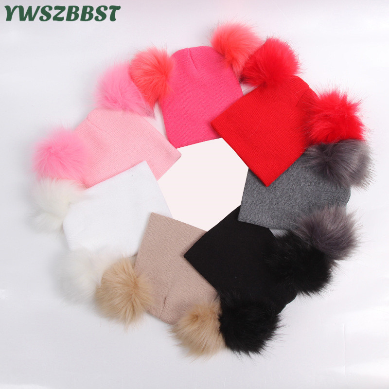 New Autumn Winter Crochet Children Hats Fur Pom Ball Hat Girl Boy Wool Cap Baby Scarf Toddlers Kids Knit Beanie