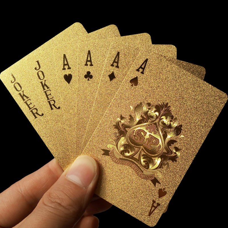 Oro jugando a las cartas de la cubierta de la hoja de oro de juego de póquer de magia de oro 24 K lámina de plástico poker impermeable Durable tarjetas magia 81150