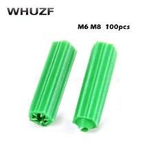 100 stücke Kunststoff expansion rohr grün M6 M8 wand stecker gummi anker stecker selbstschneidende schraube expansion rohr