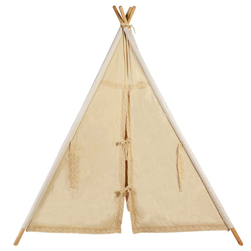 Natural Unbleached Canvas Calico Kids Teepee with Lace Trim Play Tent Kids Tipi Tent