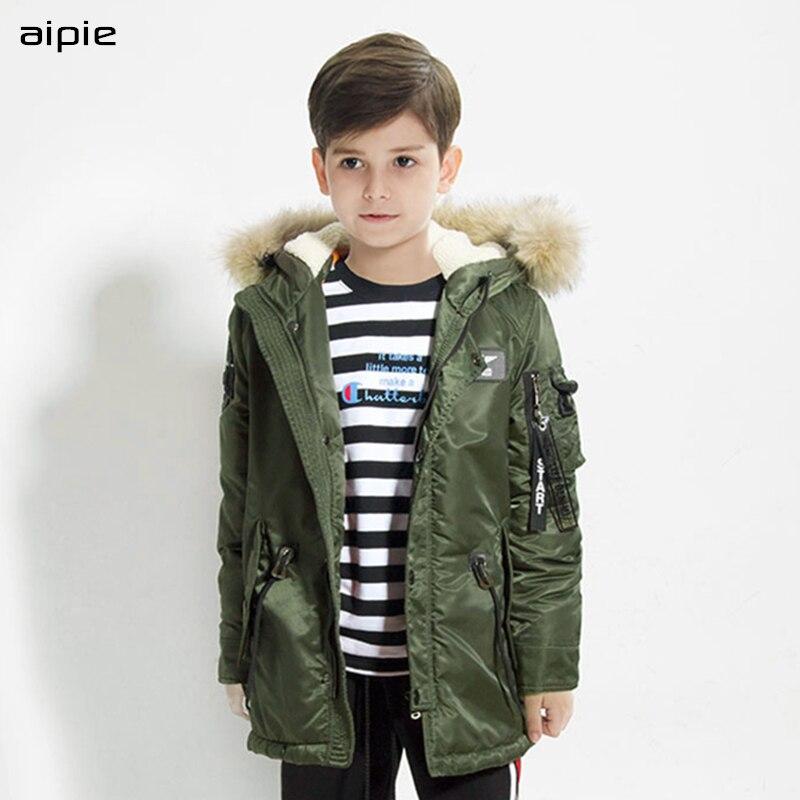 aipie New Tide Brand Children boy's Jackets Fashion Fur collar Hooded Jackets Cotton Parkas children's outerwear clothing