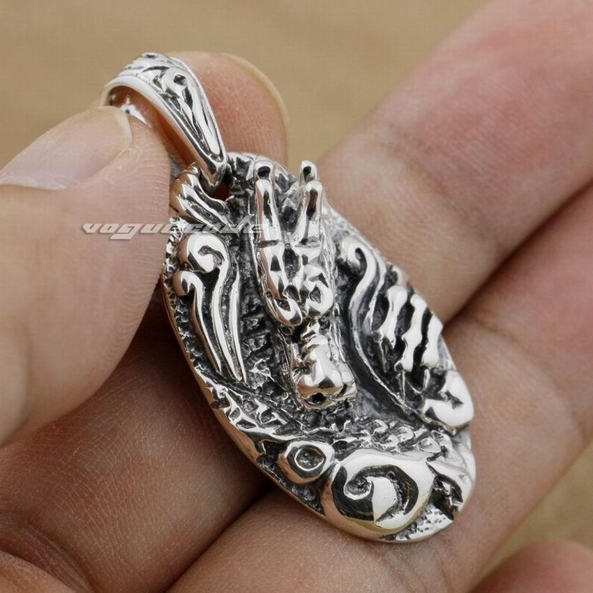 925 pendentif à bascule en argent Sterling Dragon Tag hommes Biker 9E013 collier en acier inoxydable 24 pouces