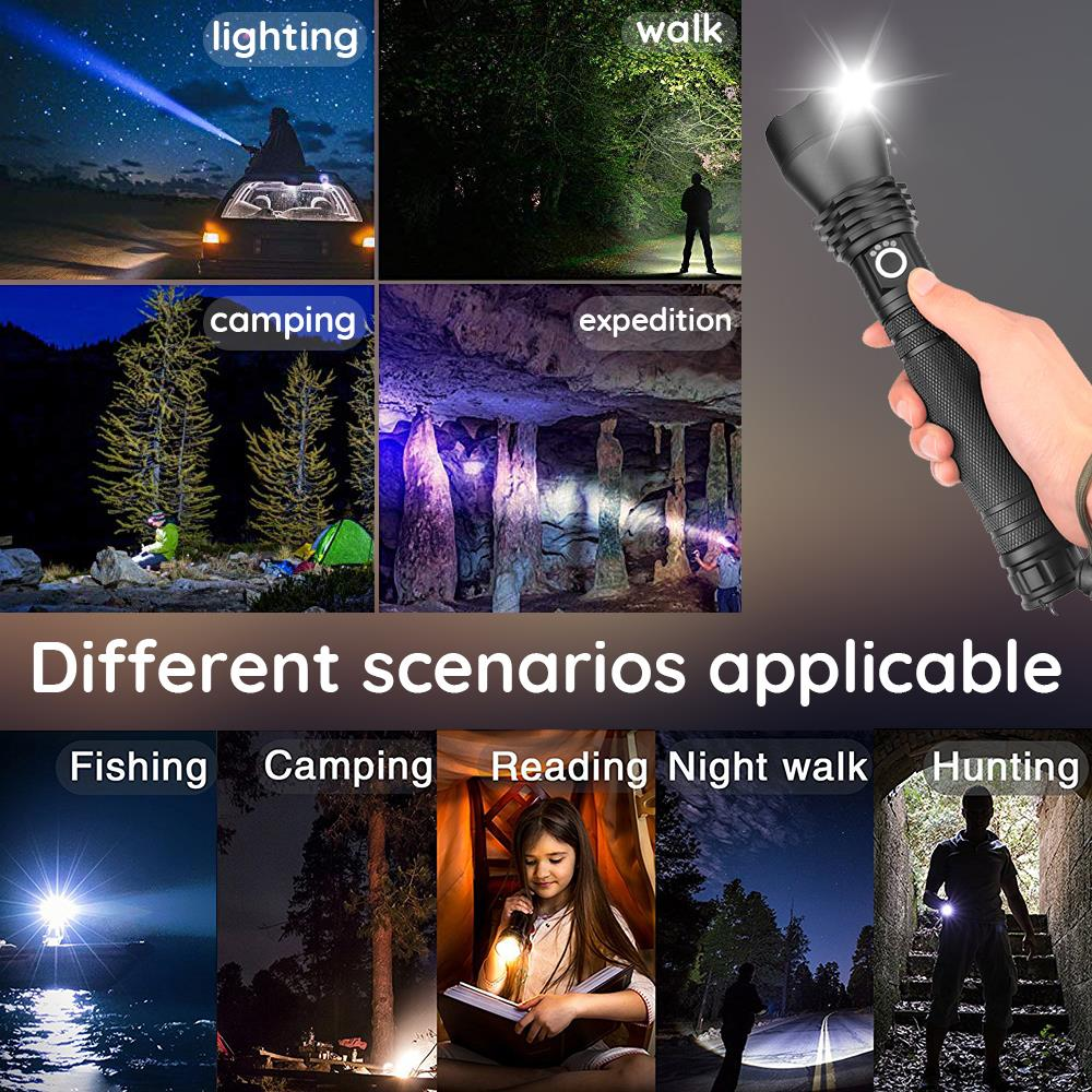 Купить с кэшбэком Super bright XHP70 light Powerful LED Flashlight XHP50 Rechargeable USB Zoom Torch XHP70.2 18650 26650 Self Defense Hunting Lamp