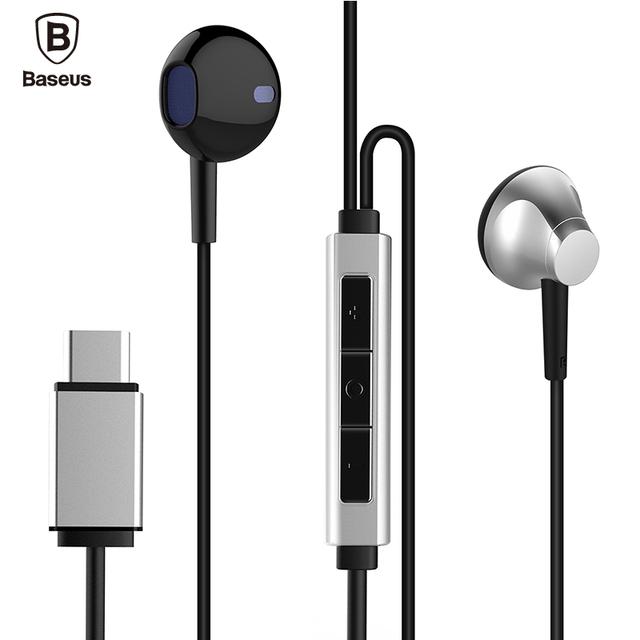 Baseus b51 usb tipo c do fone de ouvido com microfone baixo pesado estéreo tipo-c xiaomi 5 letv 2 fones de ouvido fone de ouvido para huawei p9