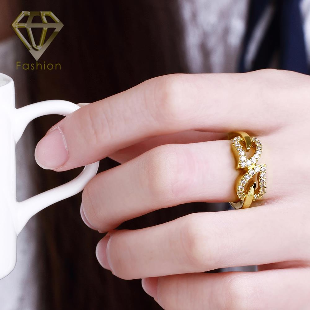 Wedding Ring Pictures Beautiful Romantic Double Hearts Inlaid CZ ...