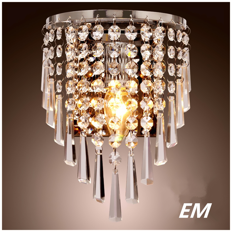 Modern style led Wall Lamps bedside lamp Bedroom Stair lamp Crystal wall Lights e14 Led single gold silver Color indoor lighting luxurious crystal wall lamp metal plating modern wall light hotel ideas wall lights indoor modern wall lamps art deco lighting