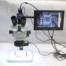 Promo offer Trinocular Stereo Microscope 3.5X-90X Continuous Zoom Magnification 1080P 60FPS VGA Camera LED Light Source 10-inch Monitor