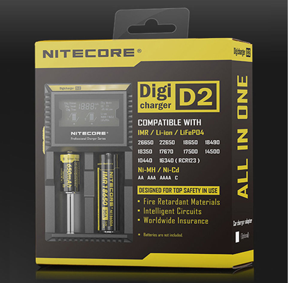 100% Original Nitecore D2 Digicharger Battery Charger LCD Display for 26650 18650 18350 16340 14500 10440