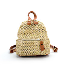2019 New  Fashion Woven Mini Popular Double Shoulder Bag Women's straw Backpack