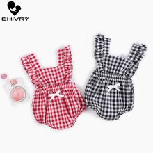 Chivry 2019 Baby Girls Bodysuit Summer Sleeveless Plaid Bodysuits Cute Suspenders Jumpsuit Newborn Playsuit Infant Clothes