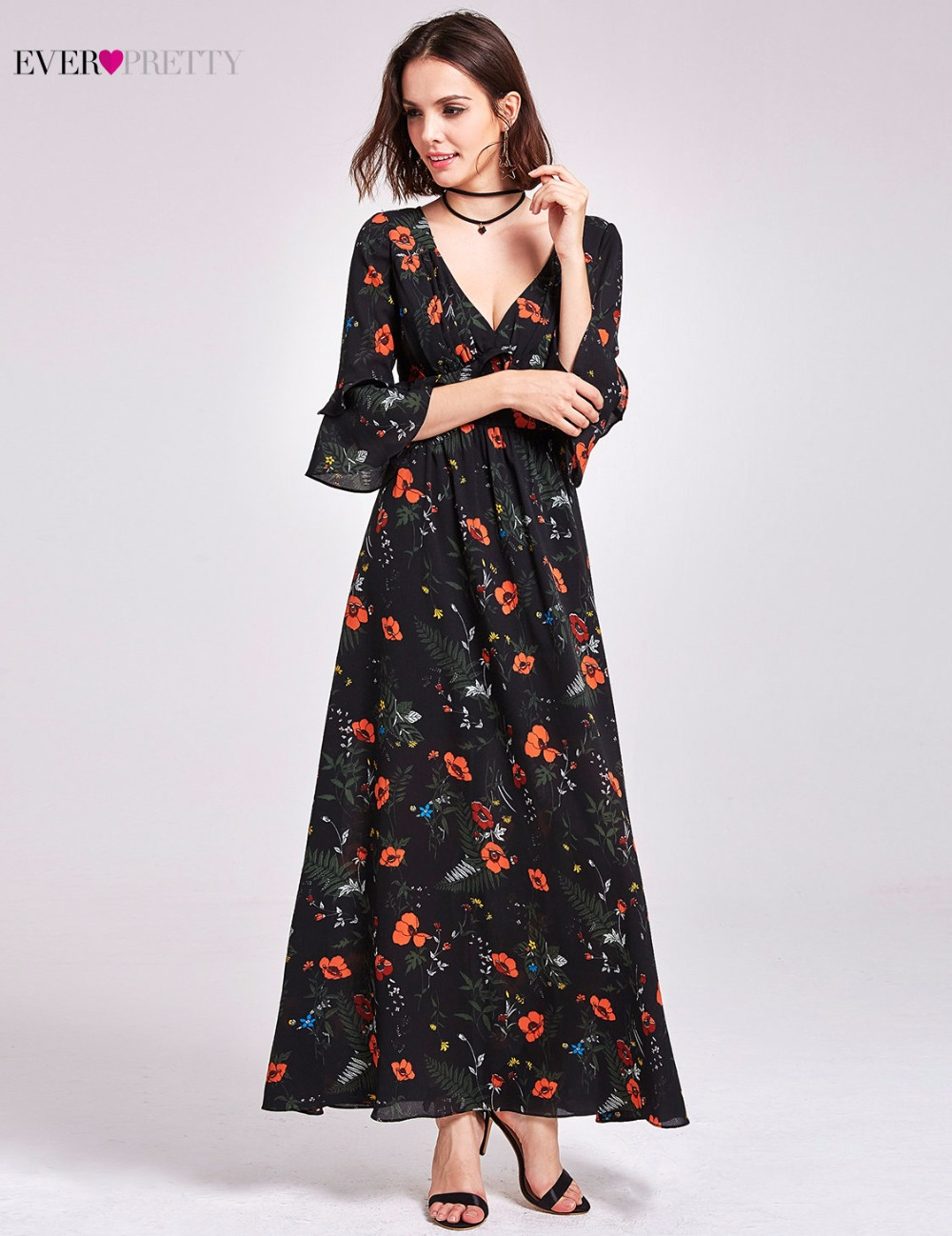 62b5508f41 Aliexpress.com : Buy Floral Print Evening Dress 2018 Ever Pretty AS07170 V  Neck Empire Waist Flare Sleeve Ruffle Maxi Dress Casual Beach Party Dress  from ...