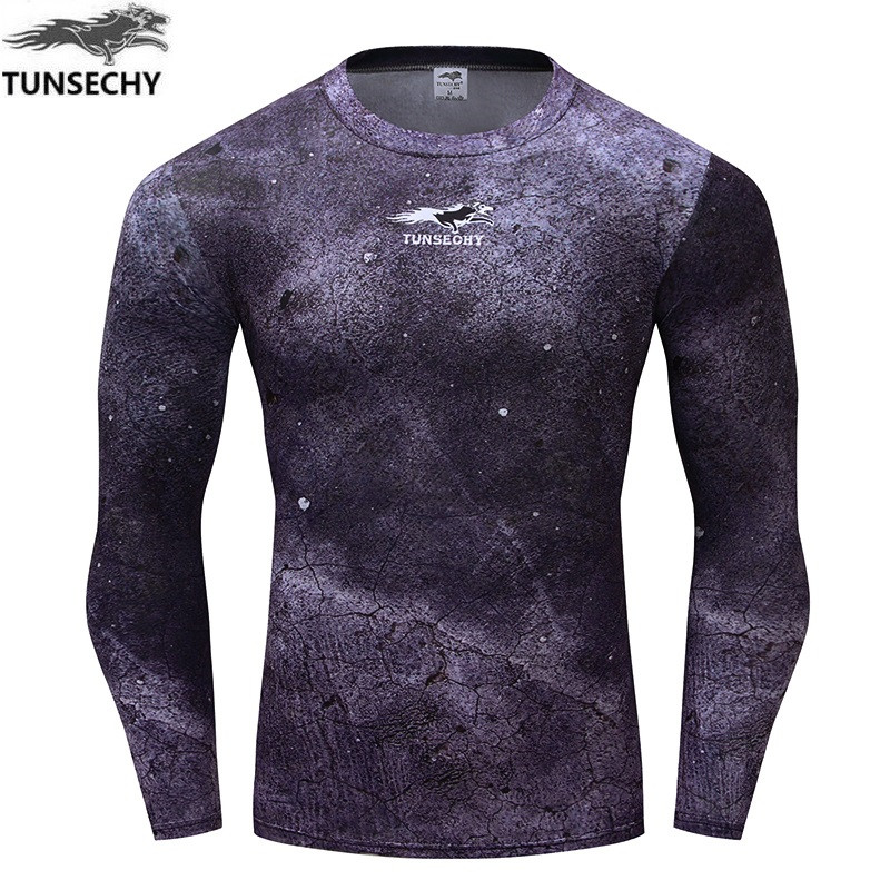 Men Compression Shirts MMA  Keep Fit Fitness Long Sleeves Base Layer Skin Tight Weight Lifting Elastic Mens T Shirts