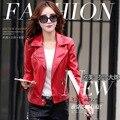 Плюс Размер Короткие Кожаные Куртки Женщины 2016 Осень Корейской Тонкий 4 Цвета Jaqueta Де Couro Длинные Рукава Короткие Мотоцикл Пальто KF6602