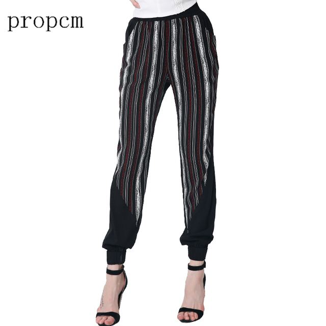 2017 New Fashion Women Pants Spring Summer Striped Black Casual Loose High Waist Harem Pants Party Club High Quality Plus Size