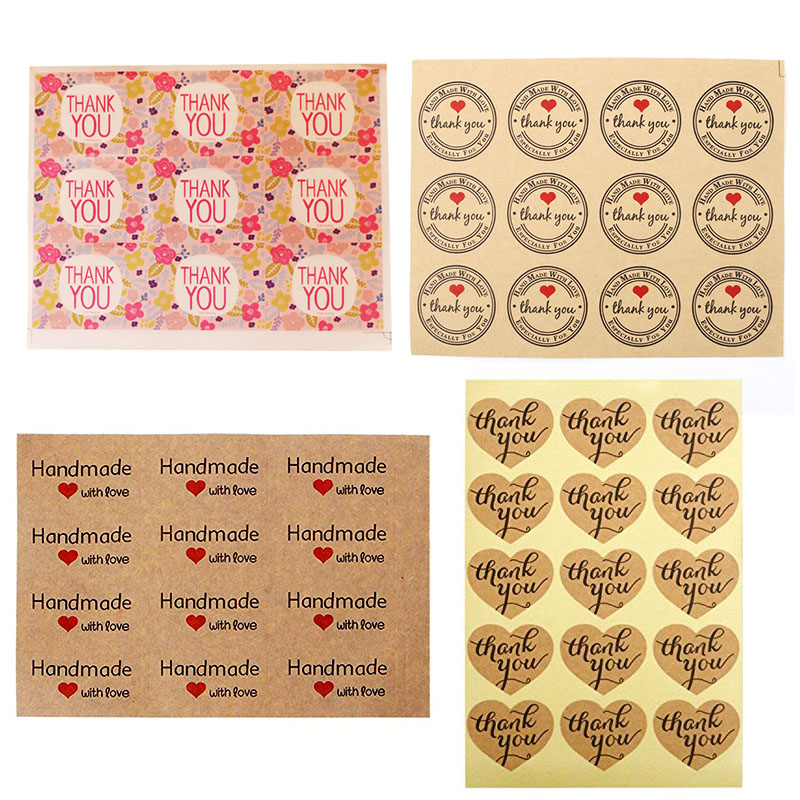 120pcs Round Thank You Stickers Seal Labels For Baking Label Handmade With Love Sticker Scrapbooking Floral Sticker