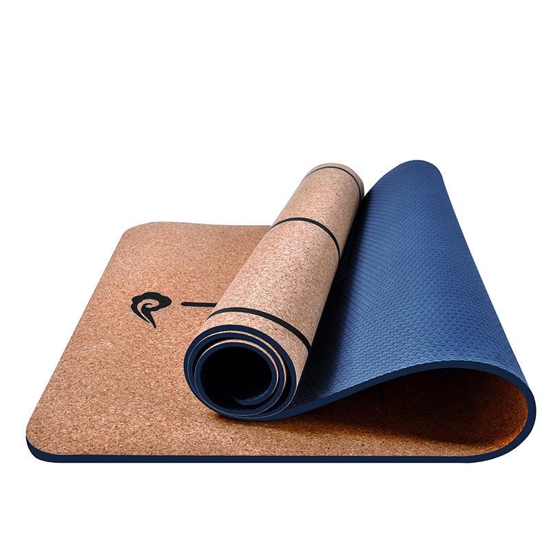 5mm 183 65cm Red Black Cork Natural Rubber Yoga Mat