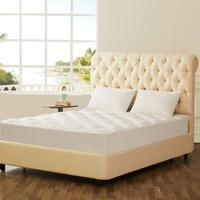 GIGIZAZA Overfill Mattress Pad Queen King Size White Quilt Mattress Protect Cover for Bed with elastic protection