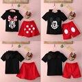 2016 Bebé Niñas Niños Minnie Mickey Mouse Ropa Top + Pantalones de Vestir 2 Unids Outfit