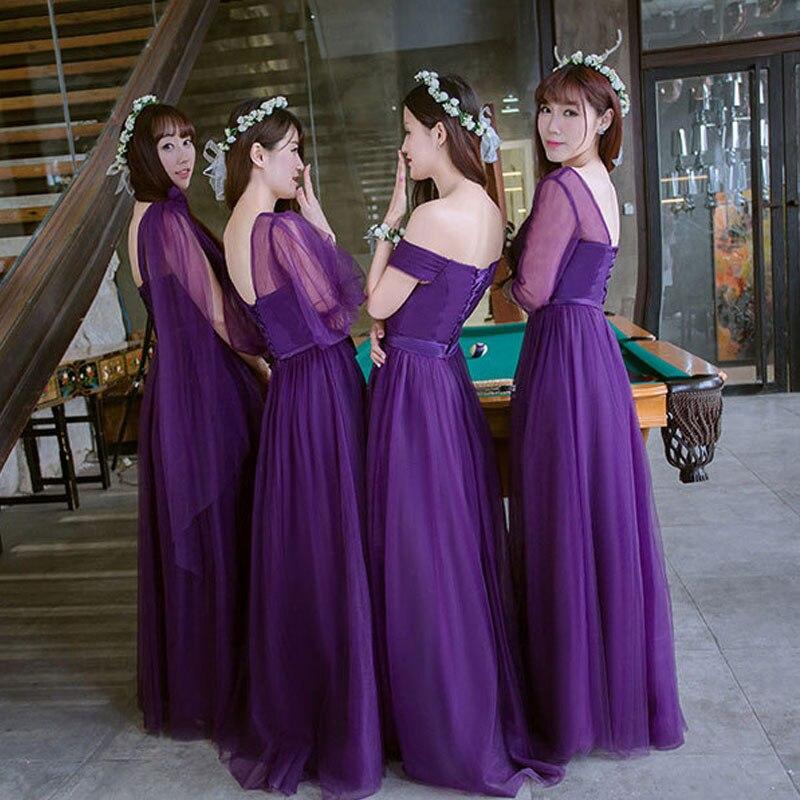 Popodion púrpura vestidos de dama de honor larga para invitados de ...