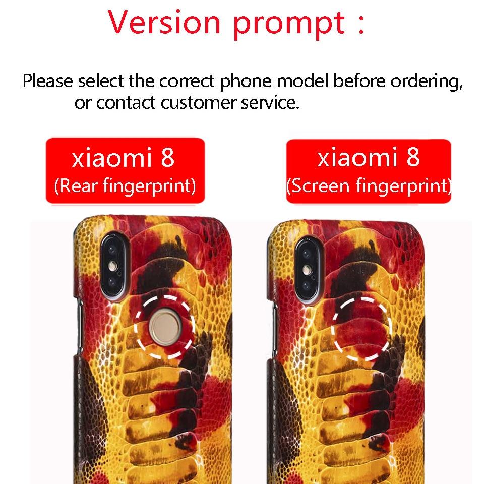 Чехол для телефона из натуральной кожи для xiaomi 8, Стильный чехол для мобильного телефона с отпечатком пальца, защитный чехол для ног страуса - 6